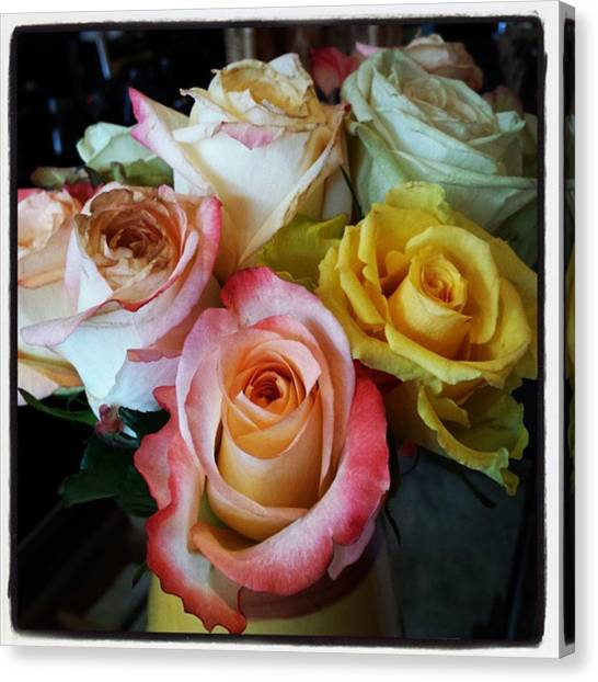Canvas Print featuring the photograph Bouquet Of Mature Roses At The Counter by Mr Photojimsf