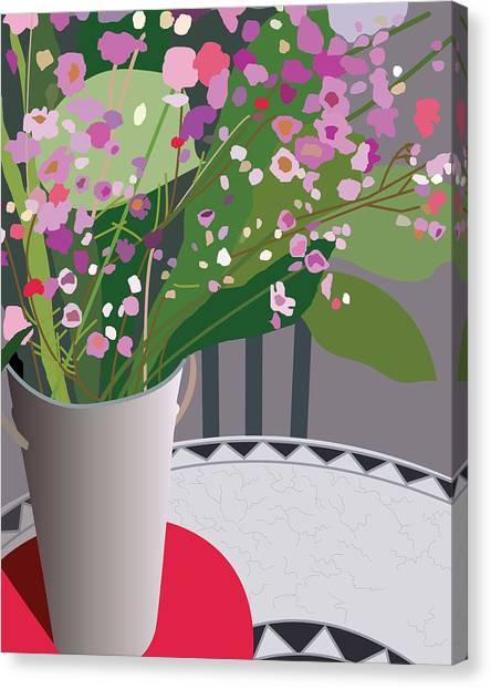Bouquet On Bistro Canvas Print by Marian Federspiel