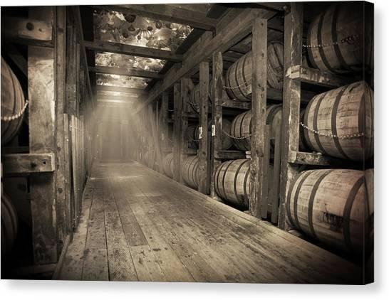 Distillery Canvas Print - Bourbon Barrels By Glass Glow by Karen Varnas