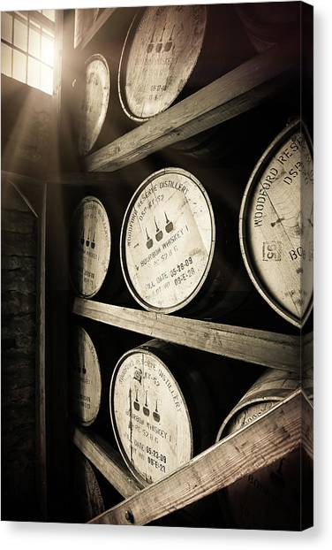 Keg Canvas Print - Bourbon Barrels By Window Light by Karen Varnas