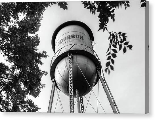 Canvas Print featuring the photograph Bourbon Missouri Usa Vintage Water Tower - Black And White by Gregory Ballos