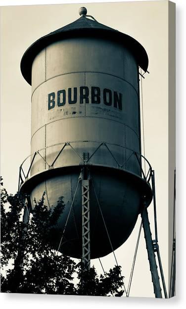 Bourbon Whiskey Vintage Water Tower - Missouri - Sepia Canvas Print