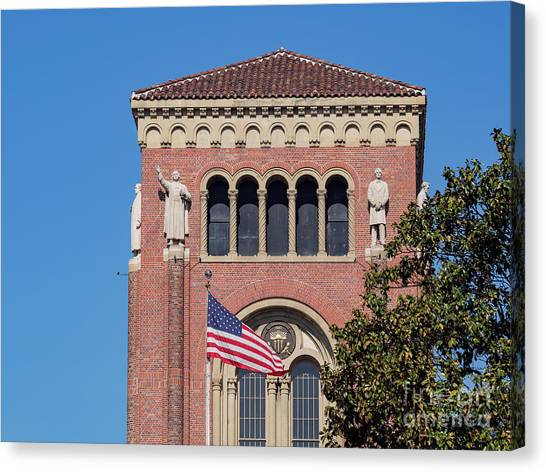 University Of Southern California Usc Canvas Print - Bovard Aministration And American Flag by Chon Kit Leong