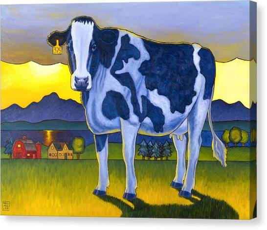 Cow Farms Canvas Print - Bovine Whidbey by Stacey Neumiller