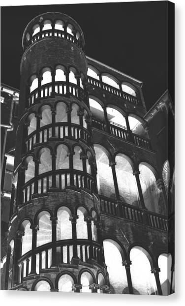 Bovolo Staircase In Venice In Negative Canvas Print by Michael Henderson
