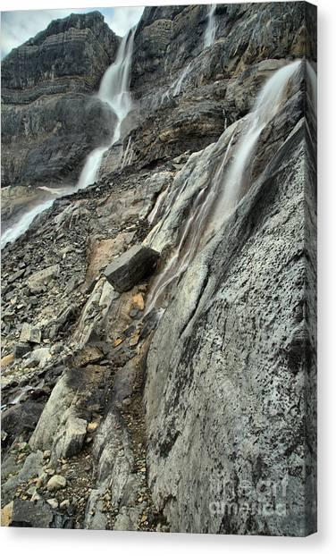 Canada Glacier Canvas Print - Bow Glacier Double Falls by Adam Jewell