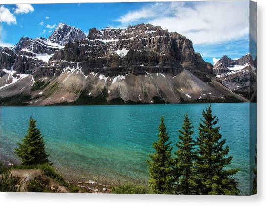 Canada Glacier Canvas Print - Bow Lake In Banff National Park Canada by Dave Dilli