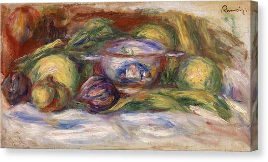 Fruit Baskets Canvas Print - Bowl, Figs, And Apples by Pierre-Auguste Renoir