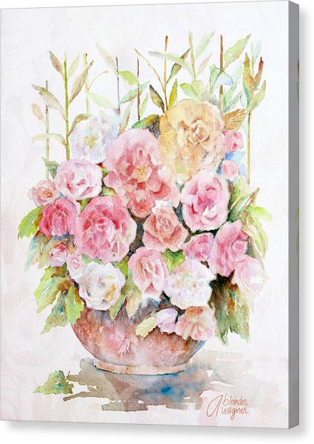 Bowl Full Of Roses Canvas Print