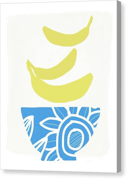 Bananas Canvas Print - Bowl Of Bananas- Art By Linda Woods by Linda Woods