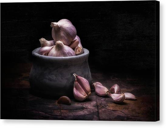 Food Canvas Print - Bowl Of Garlic by Tom Mc Nemar