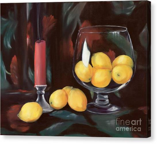 Bowl Of Lemons Canvas Print
