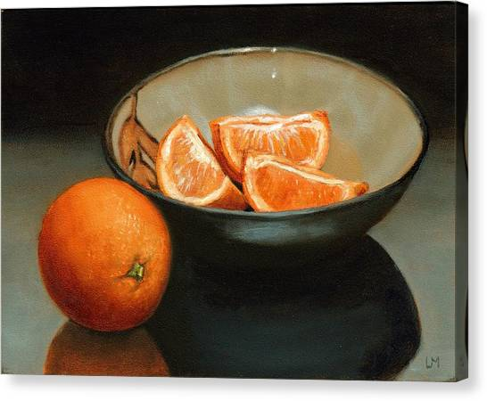 Bowl Of Oranges Canvas Print
