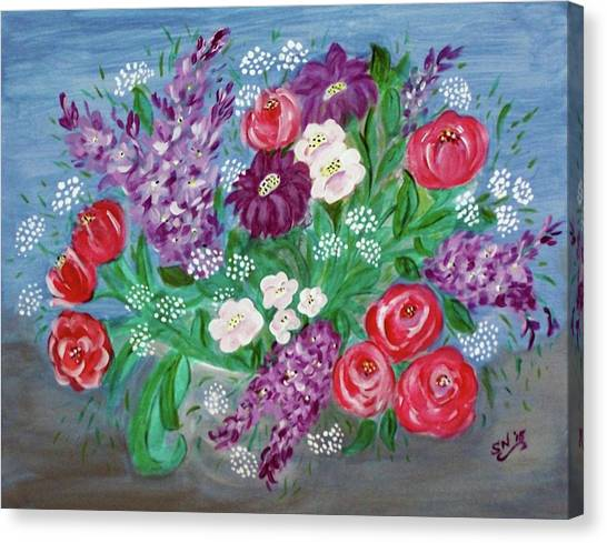 Canvas Print featuring the painting Bowl Of Poisies by Sonya Nancy Capling-Bacle