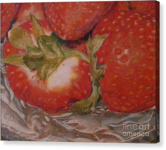 Bowl Of Strawberries Canvas Print by Crispin  Delgado