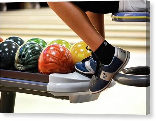 Bowling Shoes Canvas Print - Bowling Alley Hang Out by Leah McPhail