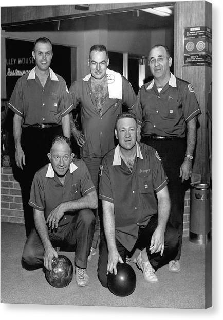 Bowling Ball Canvas Print - Bowling Team Portrait by Underwood Archives