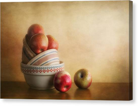 Ceramic Canvas Print - Bowls And Apples Still Life by Tom Mc Nemar
