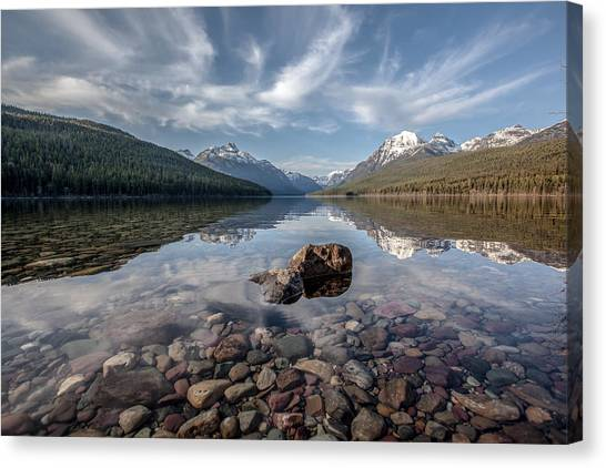 Bowman Lake Rocks Canvas Print