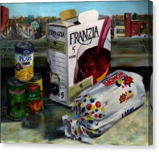 Box Wine With Bread No. 1 Canvas Print