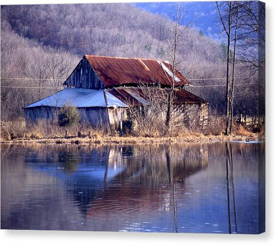 Boxely Barn Reflection Canvas Print