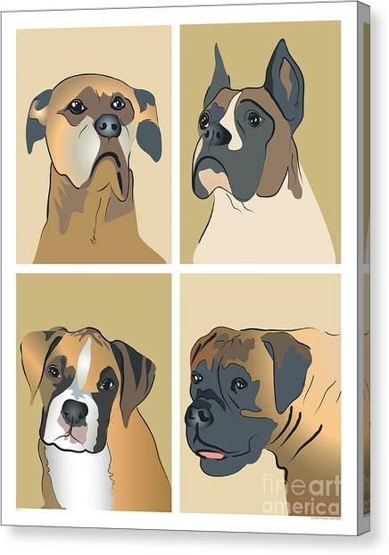 Boxer Dogs 4 Up Canvas Print