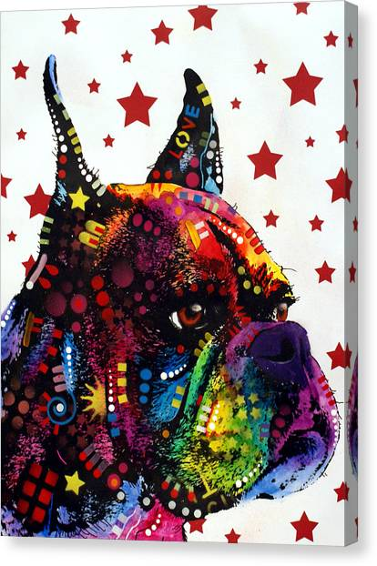 Boxers Canvas Print - Boxer Love by Dean Russo Art