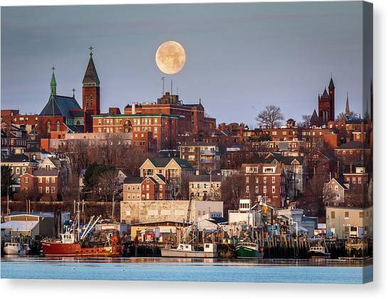 Boxing Day Moon Over Portland Maine  Canvas Print