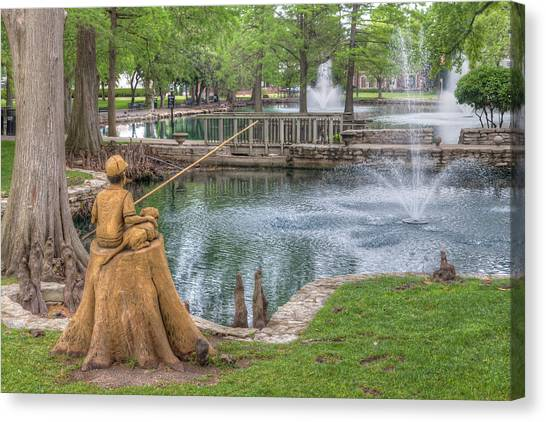 Oklahoma State University Canvas Print - Boy And Dog Fishing Sculpture At Theta Pond by Ken Wolter