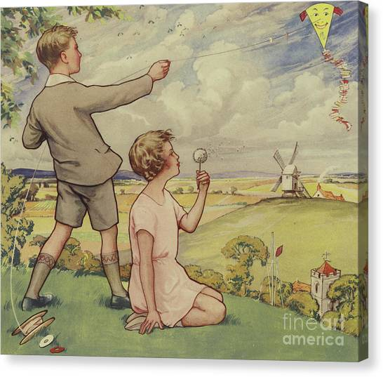 Child Canvas Print - Boy And Girl Flying A Kite by English School
