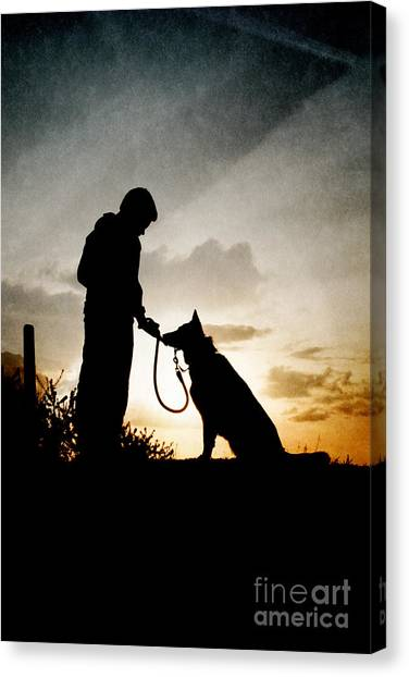 Boy And His Dog Canvas Print