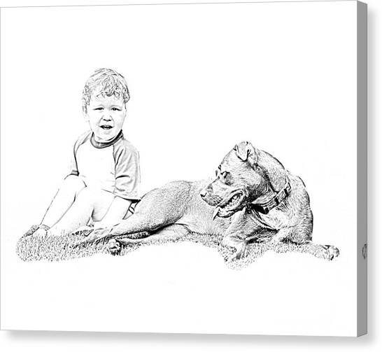 Boy And His Dog Canvas Print by Ralph  Perdomo
