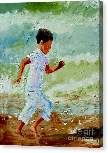 Boy By The Sea Canvas Print by Inna Montano