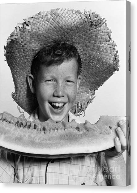 Watermelons Canvas Print - Boy Eating Watermelon, C.1940-50s by H. Armstrong Roberts/ClassicStock