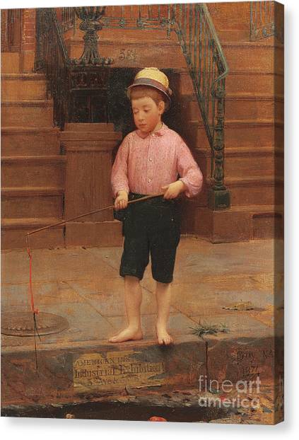 Street Rods Canvas Print - Boy Fishing At 58 And A Half East 10th Street, 1871 by Seymour Joseph Guy