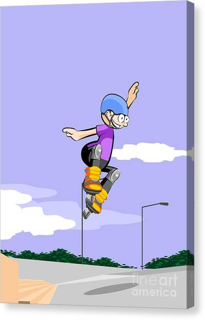 Skates Canvas Print - Boy Flying Over The Stairs With His Roller Skates Online by Daniel Ghioldi