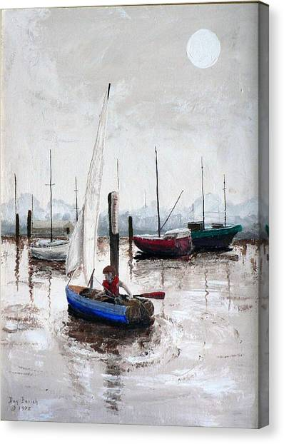 Boy In Blue Sailboat Canvas Print by Dan Bozich