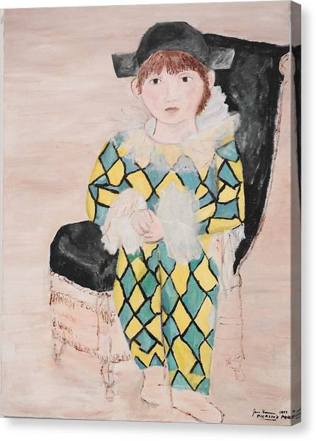 Canvas Print featuring the painting Boy In Costume Picasso Inspired by Jean Forman