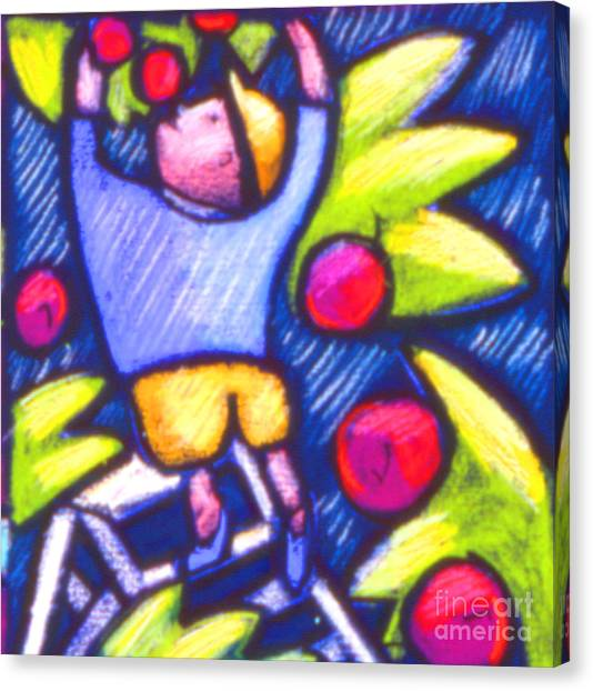 Boy Picking Apples Canvas Print by Angelina Marino