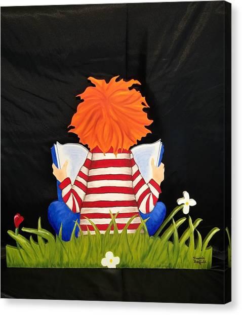 Boy Reading Book Canvas Print