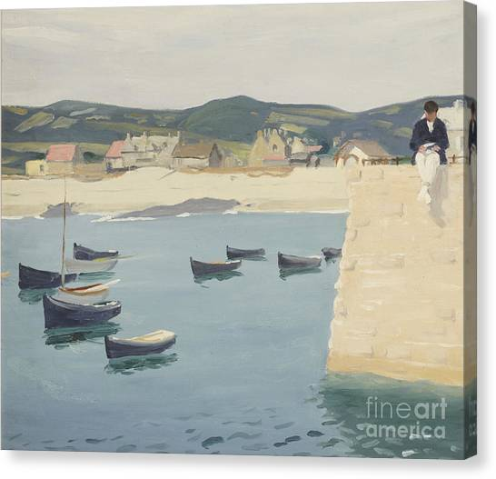 Harbour Canvas Print - Boy Reading On A Harbour's Edge  by William Strang