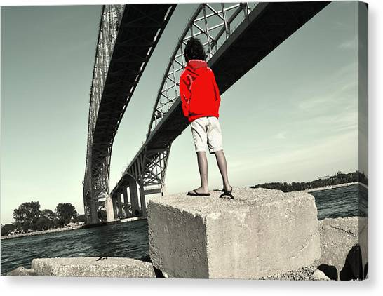 Boy Under Bridge Canvas Print