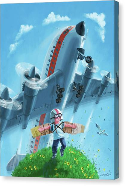 Boy With Airplane On Hilltop Canvas Print