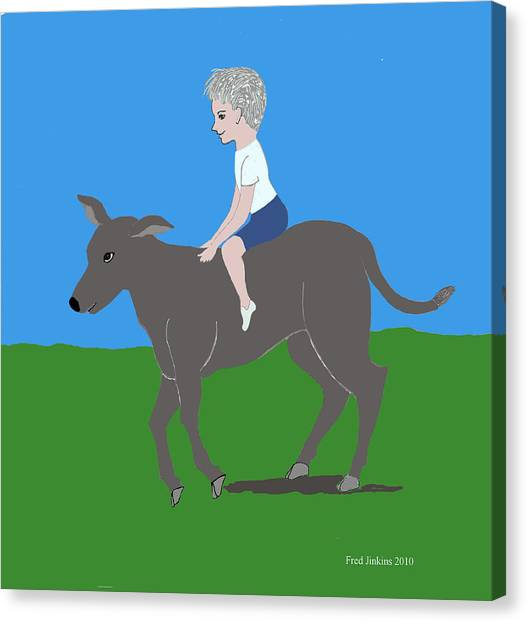 Boy With Calf Canvas Print by Fred Jinkins