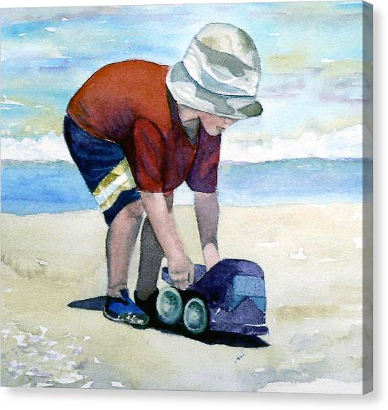 Boy With Truck Canvas Print
