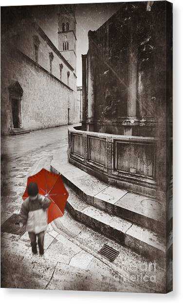 Street Rods Canvas Print - Boy With Umbrella by Rod McLean