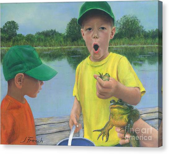 Boys And Frogs Canvas Print