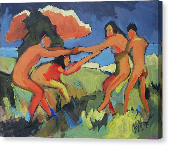 Briex Canvas Print - Boys And Girls Playing by Nop Briex
