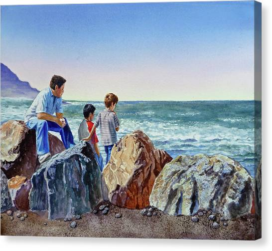 Irina Canvas Print - Boys And The Ocean by Irina Sztukowski