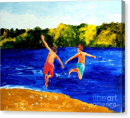 Boys By The River Canvas Print by Inna Montano